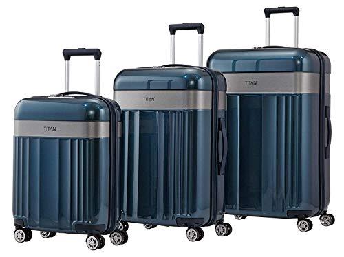 Titan Spotlight Flash 3er Kofferset inkl. kleine Kulturtasche Hartschalen Reisekoffer 4 Doppelrollen Trolley (Größen S,M und L) (Dunkelblau)
