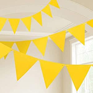Amscan International- Cinta decorativa, Color 10m plastic pennant banner - yellow (9903783)