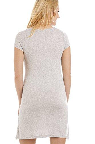 Chemise de nuit à manches courtes - motif zèbre - gris Gris
