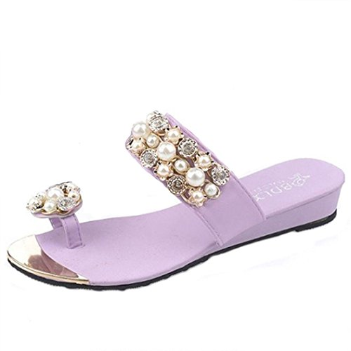 Jamicy Donna fashion Crystal design estate casual Infradito ciabatte scarpe Viola