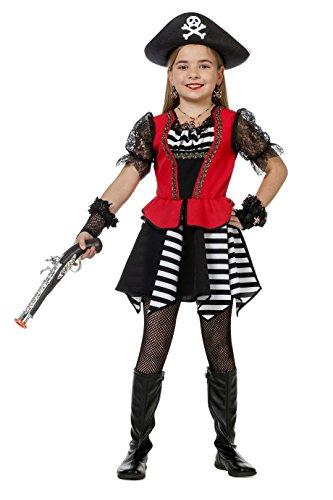 The Fantasy Tailors Piraten-Kostüm Mädchen Piraten-Kleid Schwarz Weiß (ohne Hut) Kinderkostüm Pirat Freibeuter Karneval Fasching Hochwertige Verkleidung Fastnacht Größe 152 Schwarz/Rot