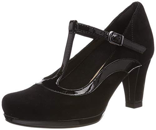Clarks Damen Chorus Pitch T-Spangen Pumps, Schwarz (Black Combi), 39 EU -