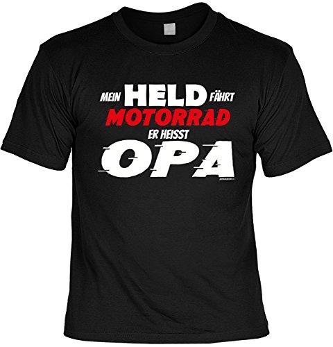 T-Shirt mit tollem Motiv: Mein Held fährt Motorrad. Er heisst Opa - Geschenk für besondere Anlässe - schwarz Schwarz