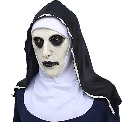 WYBXA Halloween, Máscara De Terror, Cara De Miedo Capucha Femenina, Festival Fantasma Máscara Divertida De Casco, Látex, Máscara Transpirable,Blackandwhite