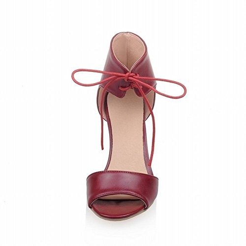 Mee Shoes Damen modern süß elegant Knöchelriemchen Schnürung open toe dicker Absatz adjustable strap Sandalen Weinrot