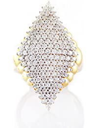 Silver Dew 925 Pure Silver Yellow Gold Plated CZ Diamond Cluster Ring For Women