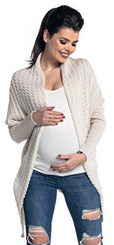 Zeta ville donna. prémaman giacca di maglina cardigan lungo. 337c (ecru, it 40/42, one size)