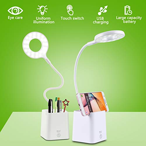 Lámpara Escritorio LED,Lámpara de Mesa USB Regulable Recargable con Portalápices Escritorio y Panel Táctil, Blanco [Clase de eficiencia energética A++]
