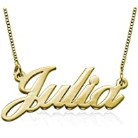 Customized Name Necklace in 18K Gold Plated Sterling Silver - Personalised Gift for Girls wHUYSaFJ