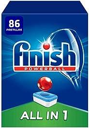 Finish Powerball All in 1 Original - Pastillas para el Lavavajillas Todo en 1, Fragancia Limón, Formato 86 Uni