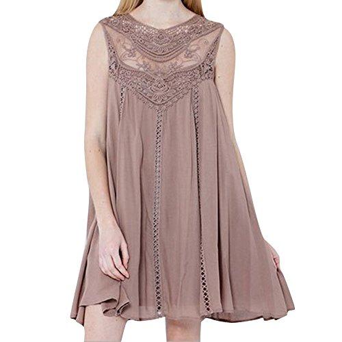 DAY.LIN Kleider Kleidung Damen Frau Beiläufig Feste Spitze Nähen O-Ausschnitt Ärmellos Chiffon Minikleid (Rosa, 2XL) -