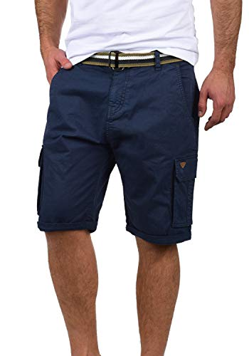 Blau Karierte Cargo-shorts (Blend Brian Herren Cargo Shorts Bermuda Kurze Hose Mit Gürtel Regular Fit, Größe:XL, Farbe:Navy (70230))