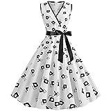 AIni Damen Vintage ÄRmelloses Elegant 50er Jahre Petticoat Kleider Gepunkte Rockabilly Kleider Cocktailkleider Partykleid Ballkleid Festkleid