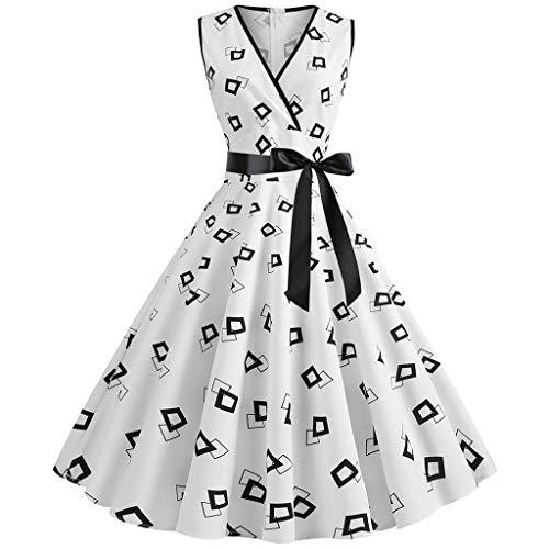 AIni Damen Vintage ÄRmelloses Elegant 50er Jahre Petticoat Kleider Gepunkte Rockabilly Kleider Cocktailkleider Partykleid Ballkleid Festkleid - Stufenrock Kleid
