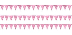 Idea Regalo - takestop SET 3 PEZZI FESTONI rosa pois 16 BANDIERINE 4.8M ciascuno COMPLEANNI MATRIMONIO NASCITA BATTESIMO FESTE PARTY