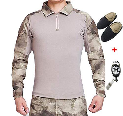 H Welt EU Taktisches Jagd Militär Langarm Shirt mit Ellenbogen Pads (A-Tacs, XL) -