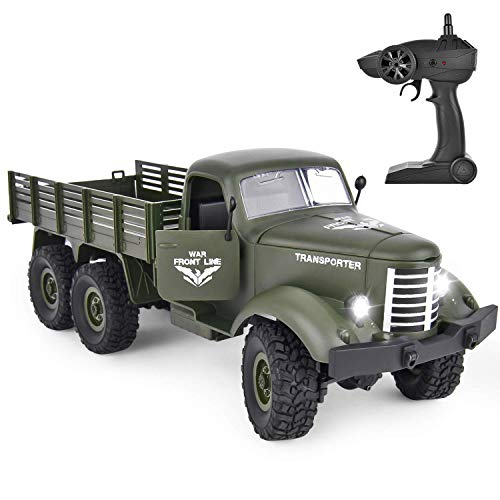 ROOYA BABY Remote Control Car, Rechargeable Off-Road RC Military Truck Transporter, 2.4 Ghz Radio Control 1/16 Army Vehicle Toy for Children Teens Adults