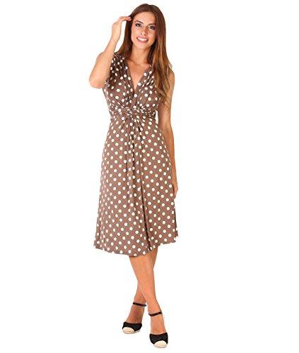 KRISP® Damen Kleid mit Geknotetem Dekolleté Mokka/Weiß (6147)