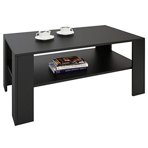 CARO-Möbel Couchtisch Wohnzimmertisch ANIMO in schwarz mit Ablage, 100 x 60 cm