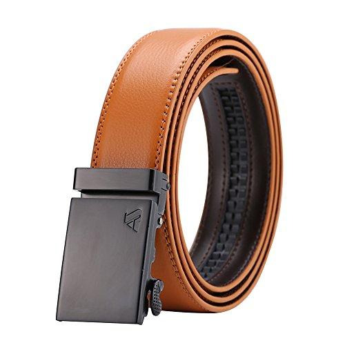 ailishabroy Cinturón de Trinquete de Cuero Para Hombre Cinturones de Hebilla Automáticos de Moda Para Hombres(Cinturón amarillo hebilla de pistola)