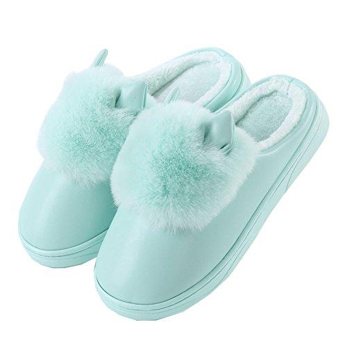 PU oreilles de chat mignon coton pantoufles à domicile-Unisexe hiver chaud peluche chaussures bootie Vert