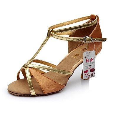Silence @ Chaussures de danse pour femme Latin satiné/similicuir Talon Noir/marron/rouge/doré Red
