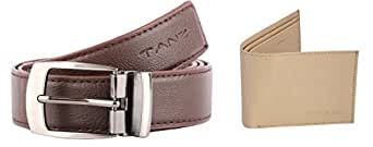 Tanz Combo of Men's Wallet & Belt in Brown
