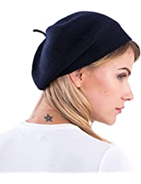3bbfc32911fa3 cashmere 4 U 100% Pure Cashmere Knitted Beret Hat for Women