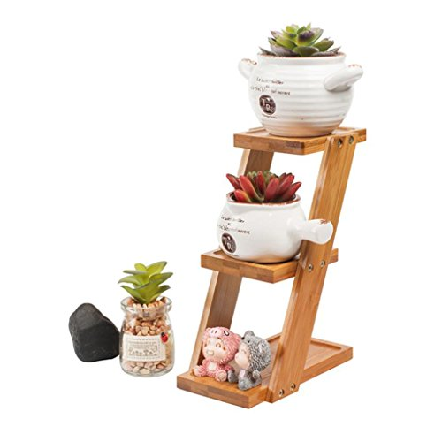 XFPINK Desktop Kleine Pflanze Blume StäNder 3-Tier-Holz-Ecke Regal Ladder-FöRmigen Sukkulente Stehen Bambus Rack Balkon Wohnzimmer Regale Indoor Outdoor - Regale 3-tier-ladder