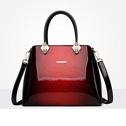 Damen Handtasche Lackleder Soft Schultertasche Business Taschen Retro Handtasche,Red-M