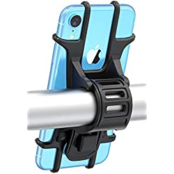 Bovon Support Vélo du Guidon, [Installation Facile] Support Téléphone Bicyclette Silicone Réglable pour Les 4,0-6,5 Pouces Smartphones, Idéal pour VTT Vélo de Route Moto (Noir)