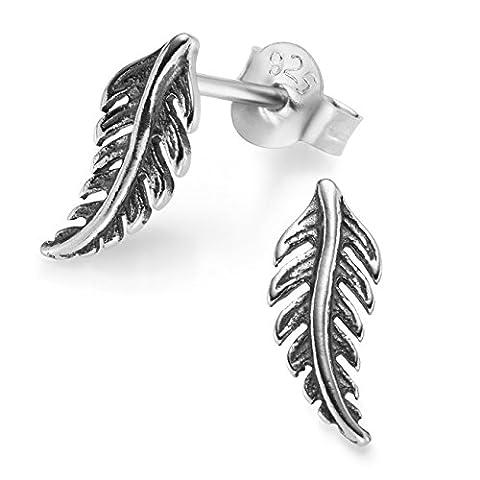 Silvinity Feder Ohrstecker 925 Silber - Damen Herren Ohrringe Indianer Stecker Antiksilber Optik + Etui 11x5mm (Ohrringe Männer Echt Silber)