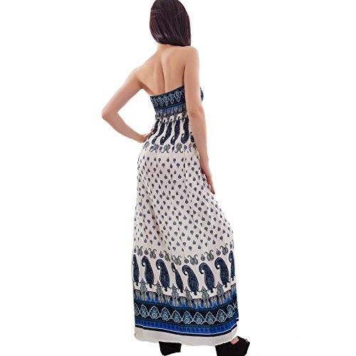 Toocool - Abito donna lungo bandeau fantasia vestito estivo copricostume nuovo 313 fantasia 1 blu