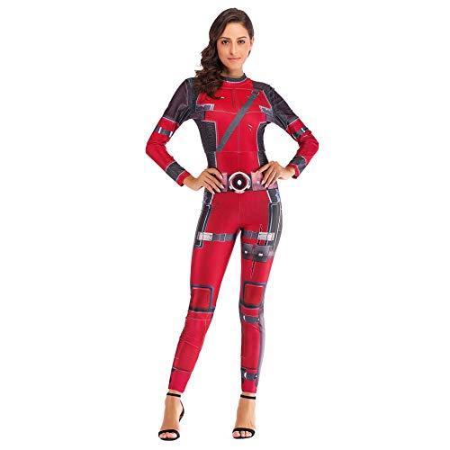 GX Halloween Bodysuit Catsuit para Mujer Atrás Cremallera Y 3D Impreso Apretado Romper Traje De Juego Carnaval Cosplay Ropa De Club Disfraz Regalo para Novia,Onecolor-XL