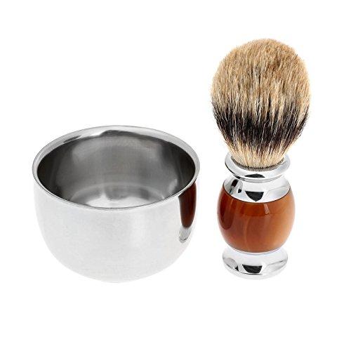 Preisvergleich Produktbild Herren Dachshaar Rasierpinsel + Edelstahl Rasierschale Rasieren Barber Set