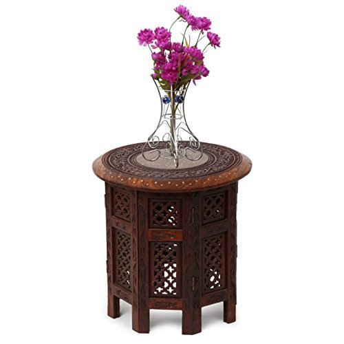 Simran Handicrafts Simran Wooden Round Shape Coffee Table  available at amazon for Rs.1446
