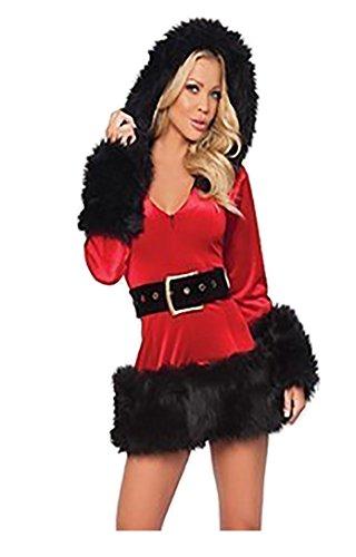 Baymate Frauen Weihnachts Kostüm Cosplay Performance Fancy Kleid mit Kapuze Weihnachtsoutfit Schwarz - Cocktail Fancy Dress Kostüm
