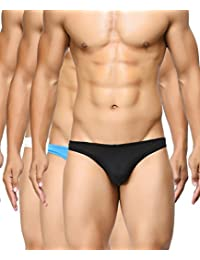 BASIICS by La Intimo Men's Blue, Black, White Semi-Seamless Feather Weight Brief (Pack of 3)