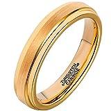 Beglie Unisex Ring Wolfram Gebürstet Poliert Streifen Trauringe Verlobungsring Paarringe für Herren Damen Gold 4MM Bandring mit Gratis Gravur Größe 52 (16.6)