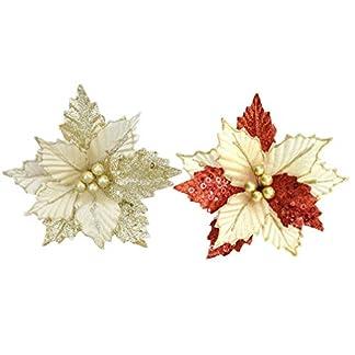 Amosfun Brillo Flor de Pascua Adornos para árboles de Navidad decoración de Flores Artificiales DIY Adornos navideños para decoración del hogar 2 Piezas (Dorado + Rojo Dorado)