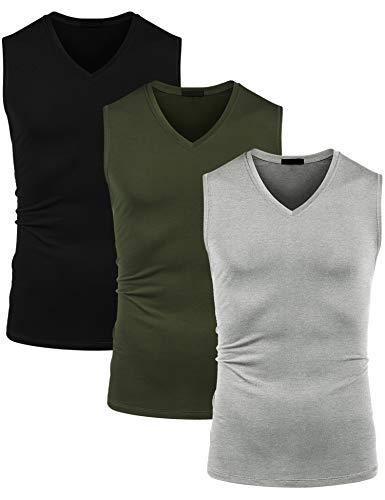 COOFANDY Herren 3er Pack Tank top Sporttanktops V-Ausschnitt ärmelloses Fitness Muskel Shirt Bodybuilding Sport T-Shirt Schwarz Grün Grau S