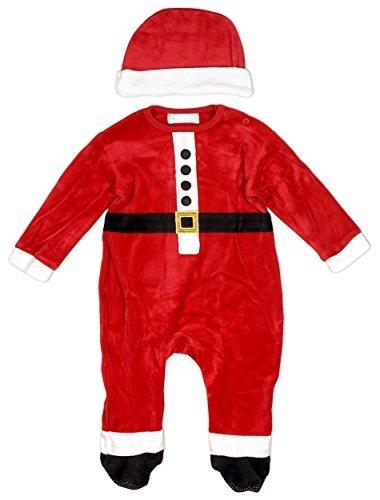 Baby Jungen Weihnachten Weihnachtsmann Kostüm Velour Strampler & Hat Set größen von Neugeborene bis 9 Monate - Rot, 3 - 6 (Bis Kostüm Baby)