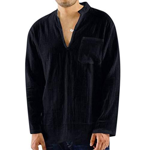 Tyoby Herren Sommer T-Shirt Baumwolle Leinen Langärmliges Hemd V-Ausschnitt Beach Yoga Schnitt Top Bluse(SchwarzB,L)