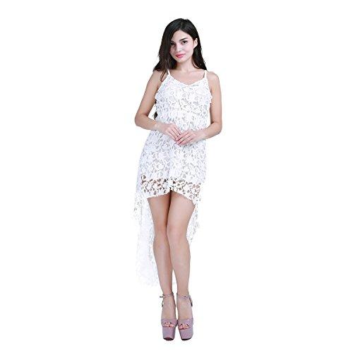 TiaoBug Robe Longue Blanc Femme Fille Blanc Dentelle Floral Elégante Casual Sans Manches Summer Robe d'éte Party Blanc