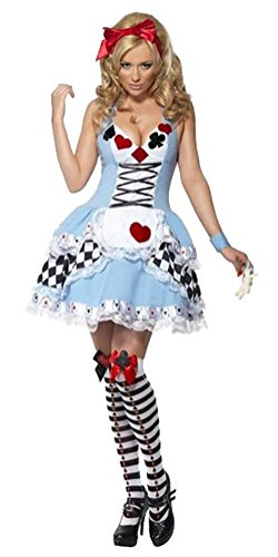 n Alice im Wunderland Mädchen-Kostüm-Cartoon-Figur Blau, Weiß und Schwarz Kleid-Luftblasen -Rand-Cosplay Alice (XX-Large) (Königin Der Diamanten-halloween-kostüm)