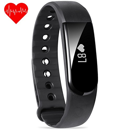 Black Activity Tracker , FITEEN Fitness Tracker Watch with Heart Rate Monitor,Smart Fitness Band Bluetooth 4.0, IP67 Waterproof Pedometer Wristband