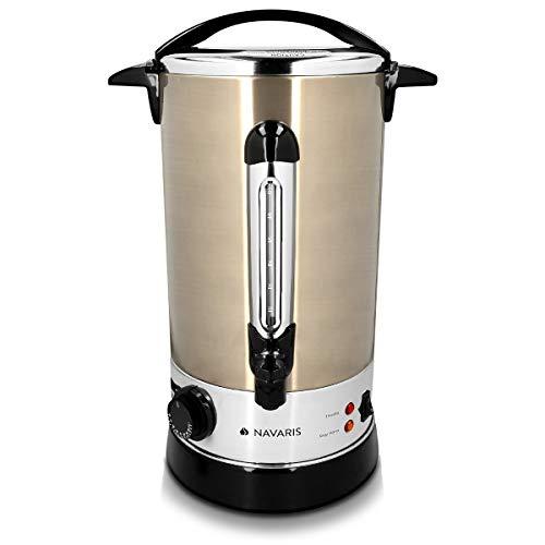 Navaris Glühweinkocher Heißwasserspender aus Edelstahl - 10l - mit Thermostat Füllstandanzeige Zapfhahn - Glühwein Heißgetränkeautomat Kupfer