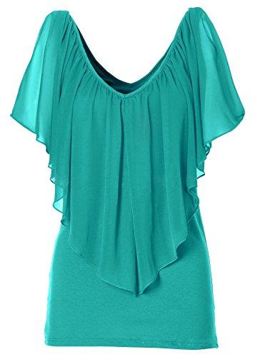 ACVIP Femme T-shirt avec Col V Mousseline de Soie Top Casual Vert