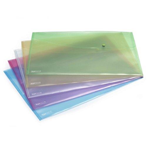 Rapesco Pochette Porte Document Pastel avec Bouton Pression en Polypropylène A3 (Lot de 5) Couleurs Assorties