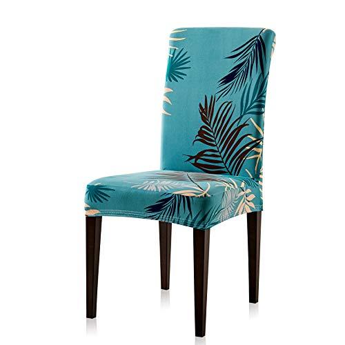 Subrtex coprisedie con schienale stampa a foglie 4 pezzi copertura della sedia da pranzo, copertura protettiva decorative elasticizzato rimovibile lavabile (4 pezzi, foglie verdi)